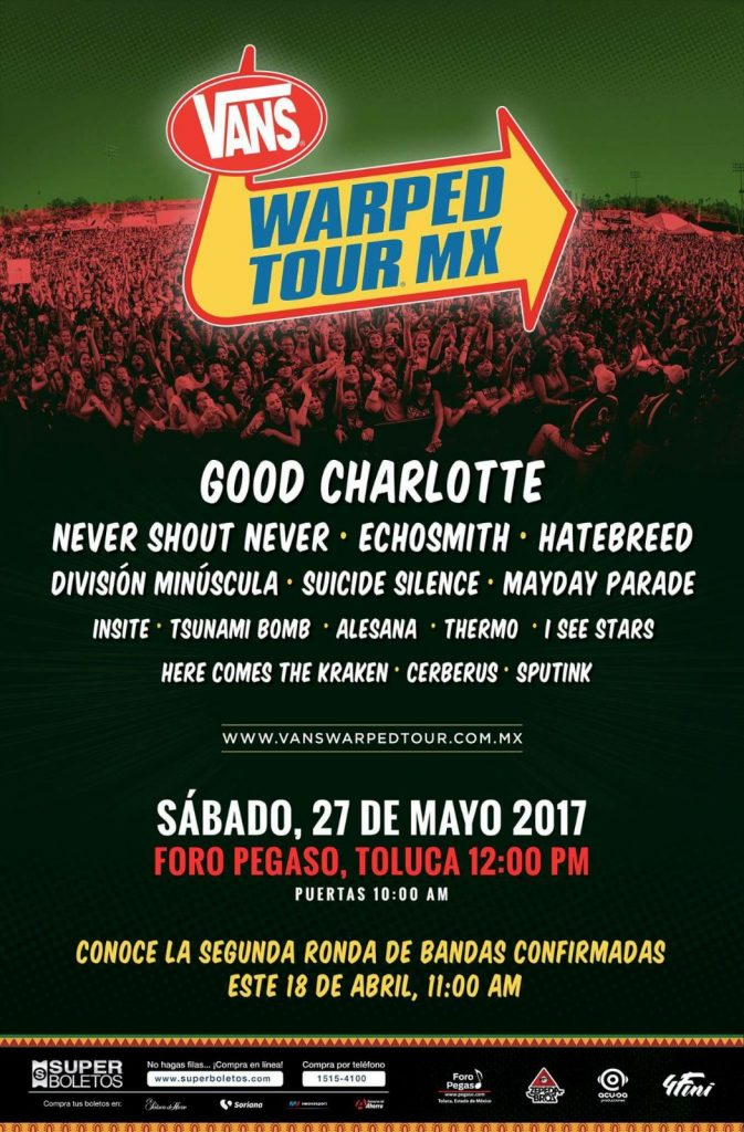 Vans Warped Tour Mexico 2017 -cartel