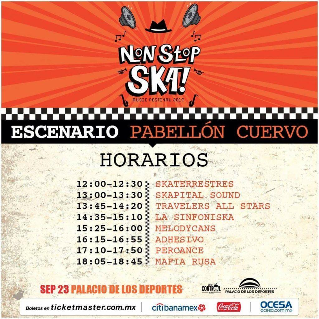 Non stop Ska 2017 - horarios - escenario pabellon cuervo
